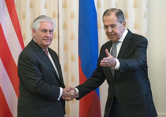 US Secretary of State Rex Tillerson and Russian Foreign Minister Sergey Lavrov, shakes hands prior to their talks in Moscow, Russia, Thursday, April 12, 2017