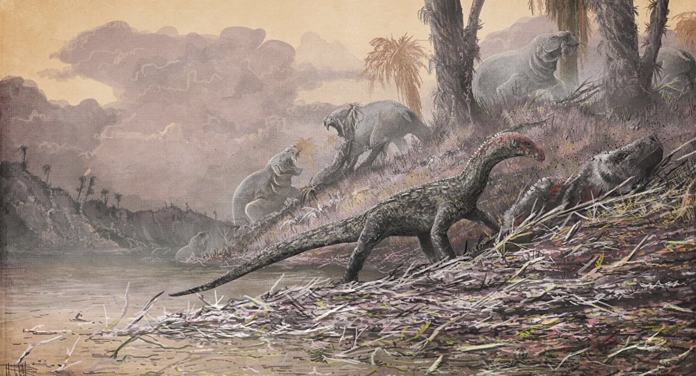 This artist's rendering provided by Mark Witton in April 2017 shows a Teleocrater rhadinus, center, a four-legged, meat-eating reptile and a close relative of dinosaurs, eating a relative of mammals, Cynognathus.