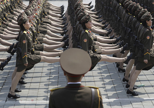 (File) North Korean women soldiers take part in a military parade Saturday, April 15, 2017, in Pyongyang, North Korea, to celebrate the 105th birth anniversary of Kim Il Sung, the country's late founder and grandfather of current ruler Kim Jong Un.
