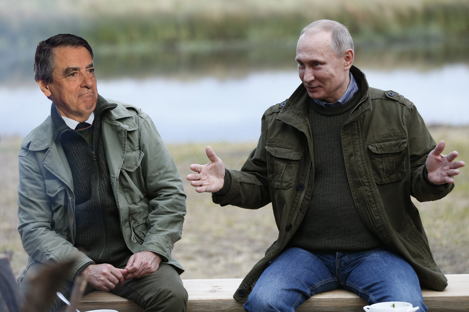 François Fillon and Vladimir Putin (collage)