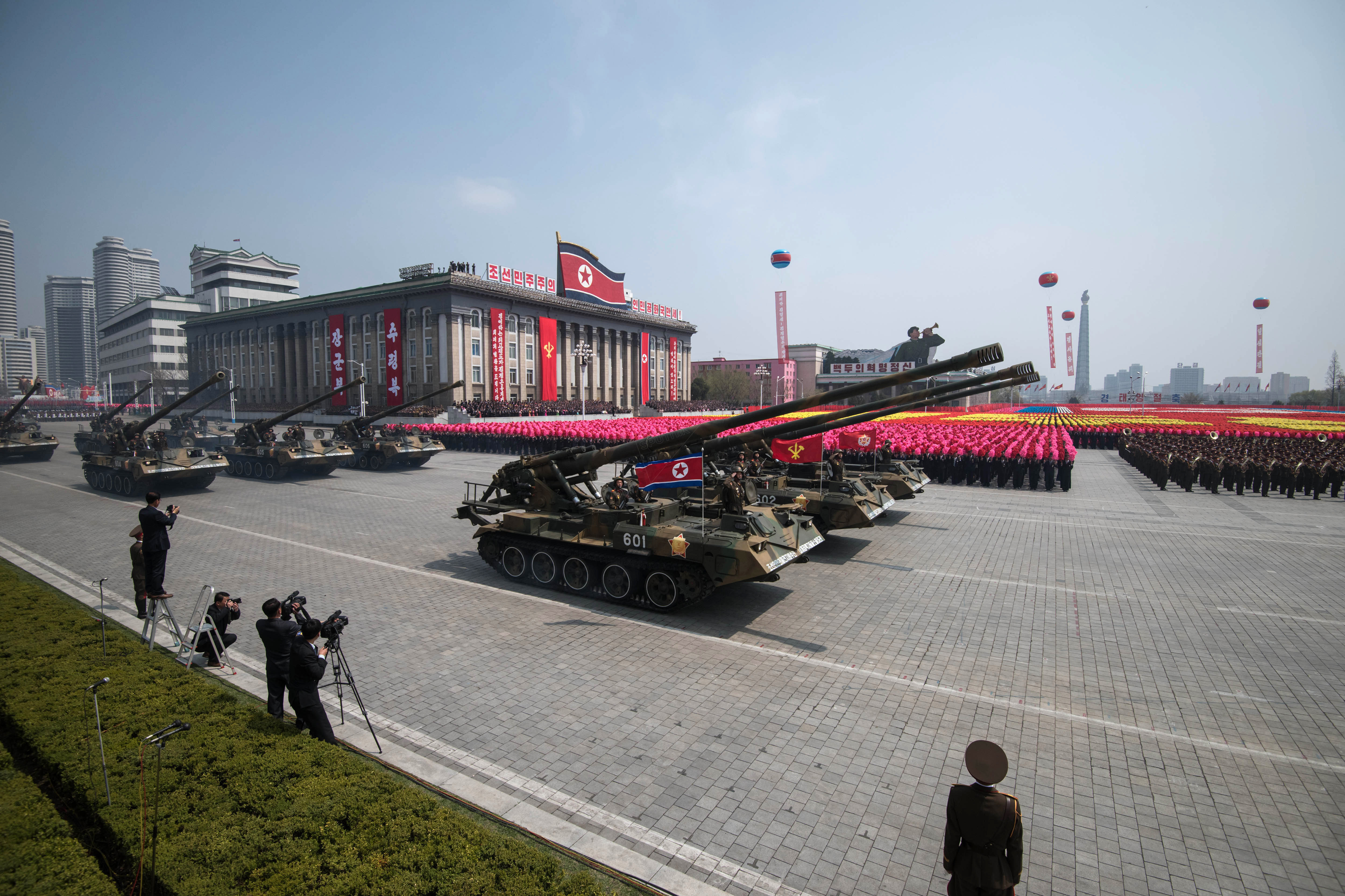 Korean People's Army (KPA) artillery pieces displayed on Kim Il-Sung square during a military parade marking the 105th anniversary of the birth of late North Korean leader Kim Il-Sung in Pyongyang on April 15, 2017.