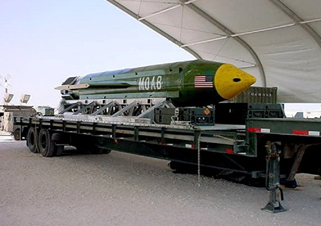 The GBU-43/B Massive Ordnance Air Blast (MOAB) bomb. (File)