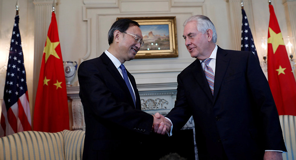 Secretary of State Rex Tillerson greets Chinese State Councilor Yang Jiechi at the State Department in Washington, U.S. (File)