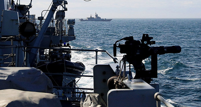 HMS Sutherland escorting Russian ships as they pass through the English Channel on route to the North Atlantic