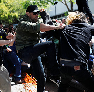 Demonstrators for and against U.S. President Donald Trump fight during rally in Berkeley, California in Berkeley, California, U.S., April 15, 2017