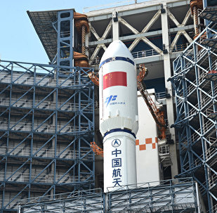 Long March-7 rocket and Tianzhou-1 cargo spacecraft are seen as they are transferred to a launching spot in Wenchang, Hainan province, China, April 17, 2017