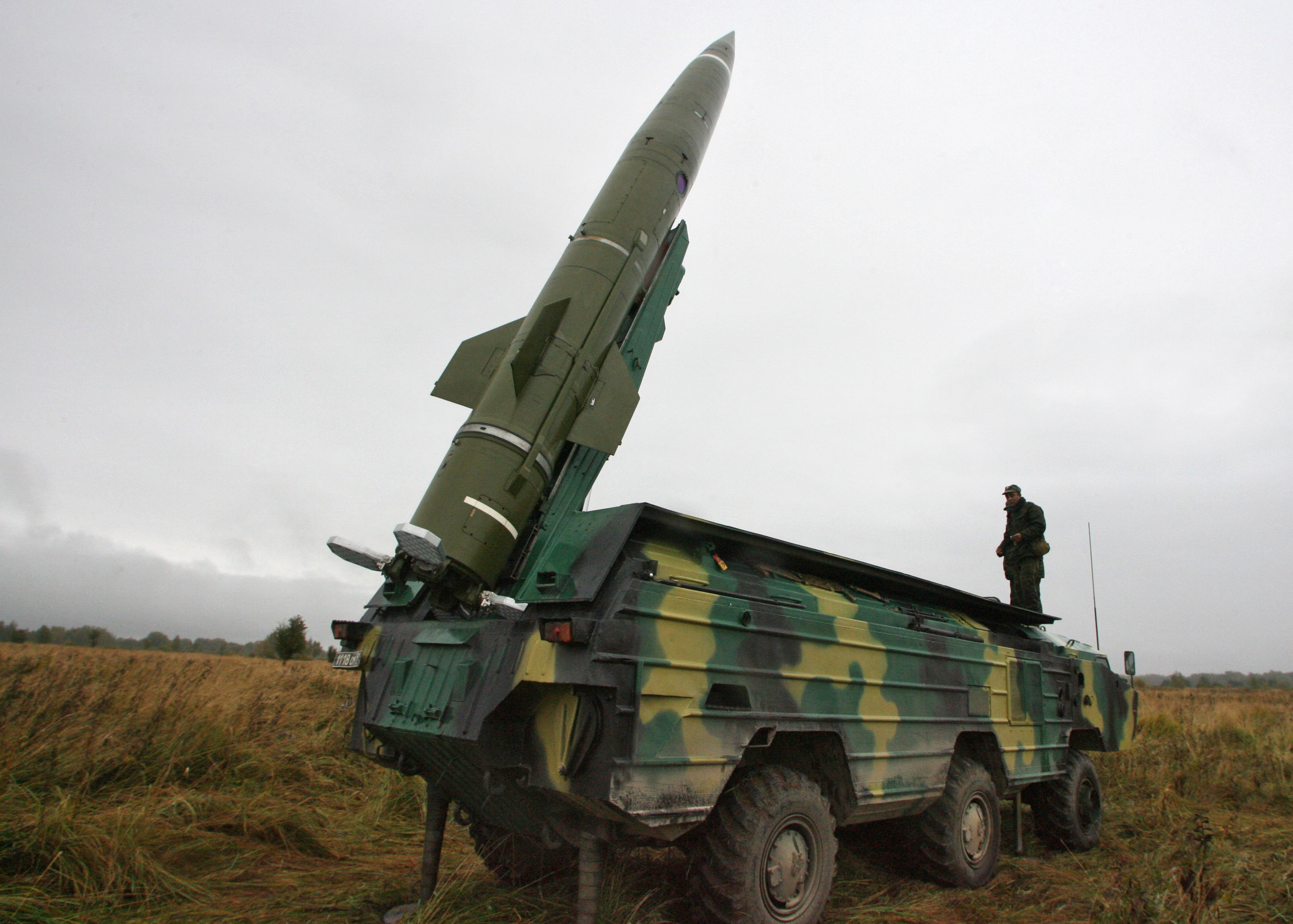 Tochka short-range tactical ballistic missile being prepared for launch at a test area in the Kaliningrad Region