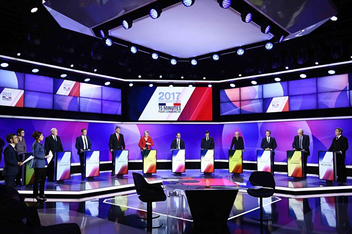 The eleven French presidential election candidates take part in a special political television show entitled 15min to Convince at the studios of French Television channel France 2 in Saint-Cloud, near Paris, April 20, 2017.