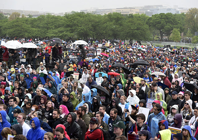 A crowd gathers for the March for Science in Washington