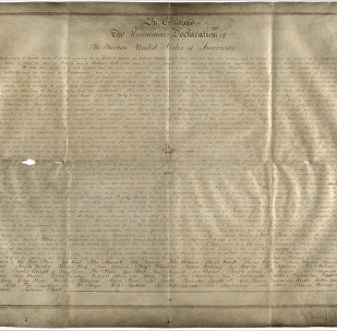 Undated handout photo of a parchment manuscript of the US Declaration of Independence, believed to date from the 1780s and found in a records office in Chichester, southern England.