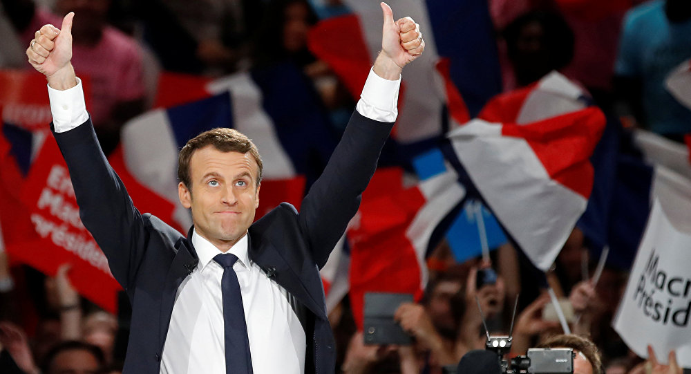 Emmanuel Macron, head of the political movement En Marche !, or Onwards !, and candidate for the 2017 French presidential election, attends a campaign political rally at the AccorHotels Arena in Paris, France, April 17, 2017.