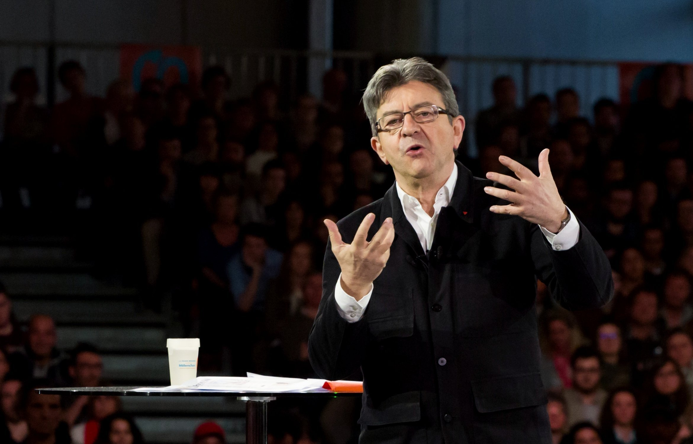Jean-Luc Melenchon during a rally in Lille, France during last year's presidential election.