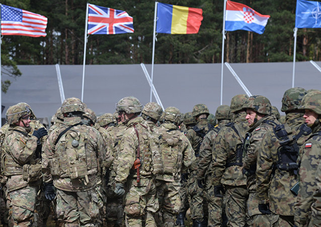 The welcoming ceremony for NATO's multinational battalion headed by the USA in Orzysz, Poland.