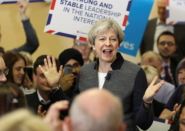 Britain's Prime Minster Theresa May delivers a stump speech at Netherton Conservative Club during the Conservative Party's election campaign, in Dudley April 22, 2017