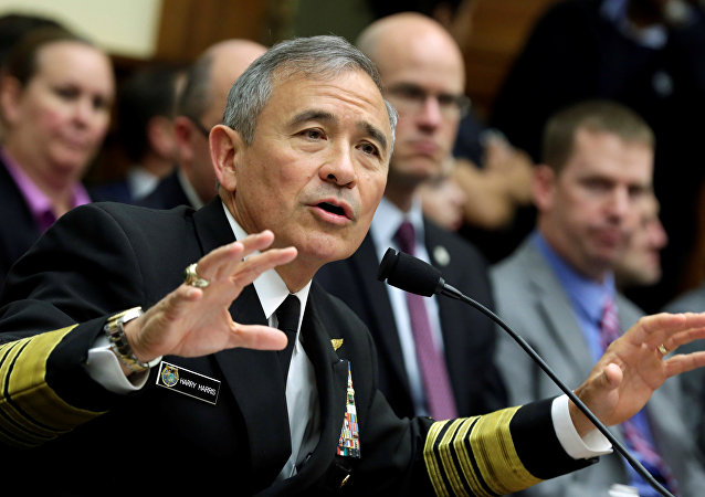 The Commander of the U.S. Pacific Command, Admiral Harry Harris, testifies before a House Armed Services Committee hearing on Military Assessment of the Security Challenges in the Indo-Asia-Pacific Region on Capitol Hill in Washington, U.S, April 26, 2017