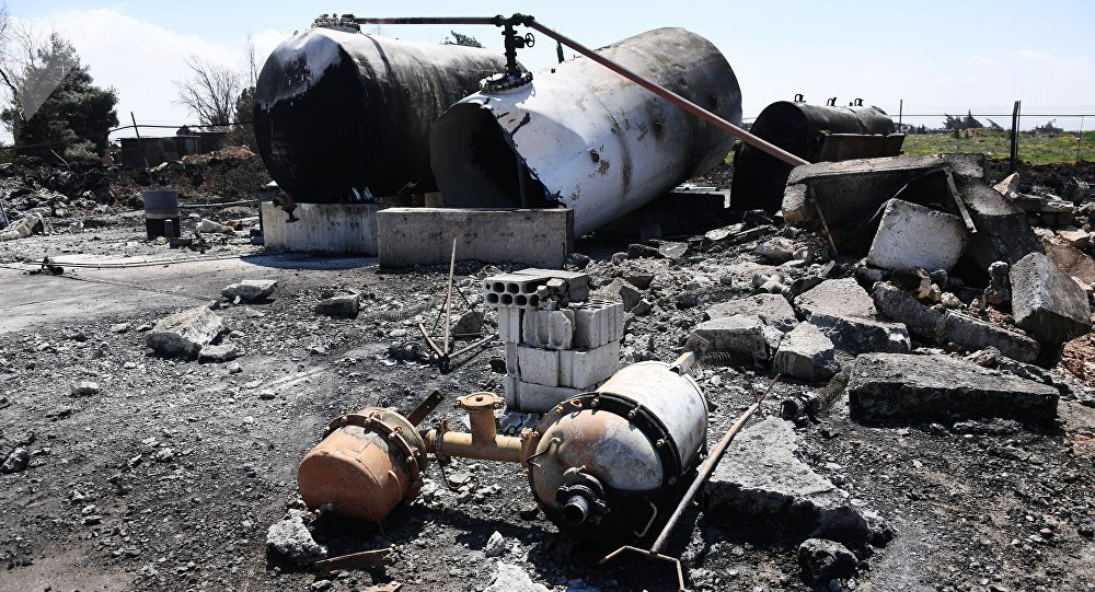 Aftermath of US missile attack on Ash Sha'irat airbase in Syria. File photo