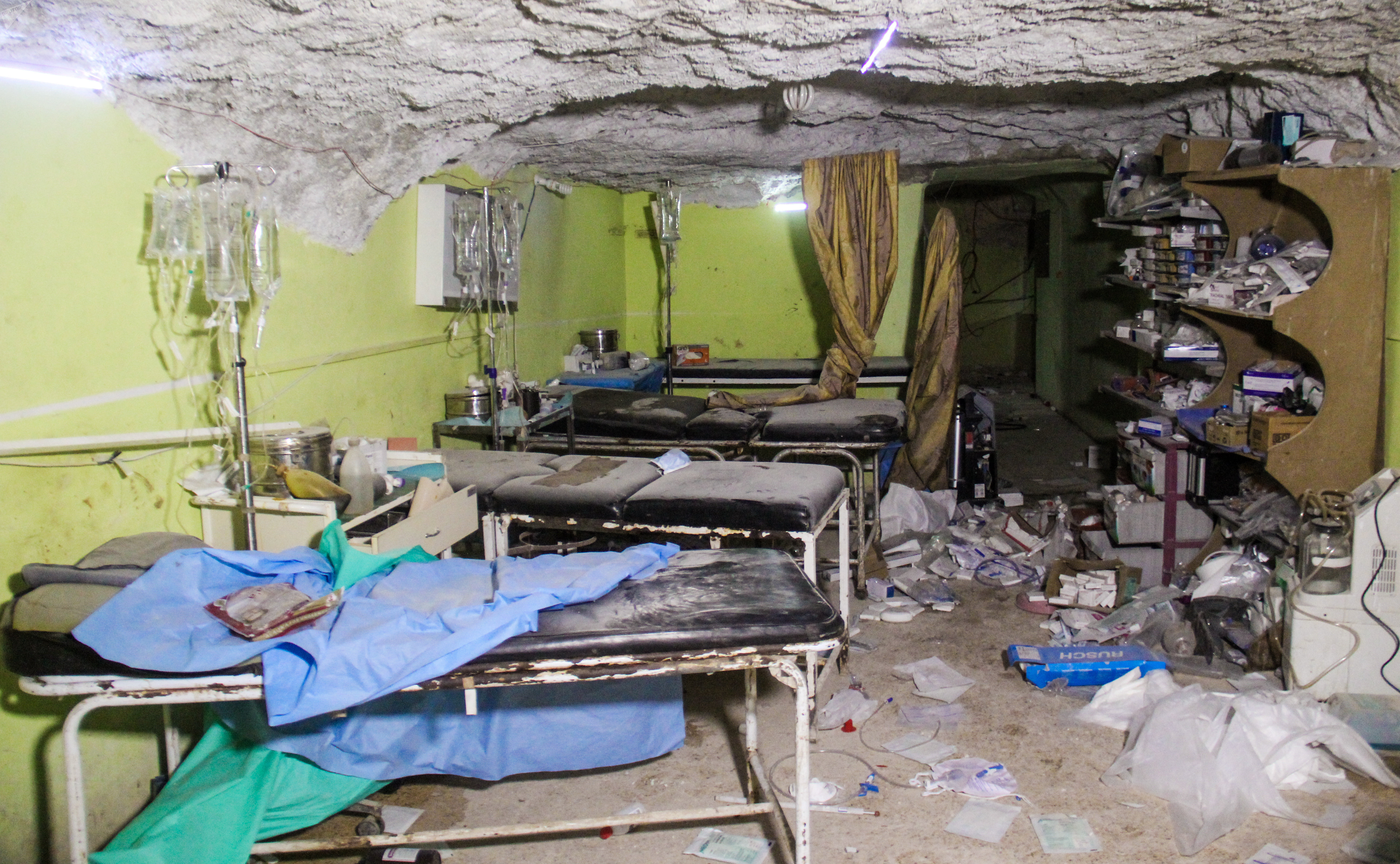 A picture taken on April 4, 2017 shows destruction at a hospital room in Khan Sheikhoun in the northwestern Syrian Idlib province, following a suspected toxic gas attack.