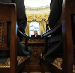 US President Donald Trump speaks during an interview with Reuters in the Oval Office of the White House in Washington, U.S., April 27, 2017