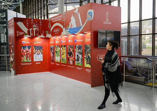 A stand with the 2017 Confederations Cup logo at the Sochi International Airport