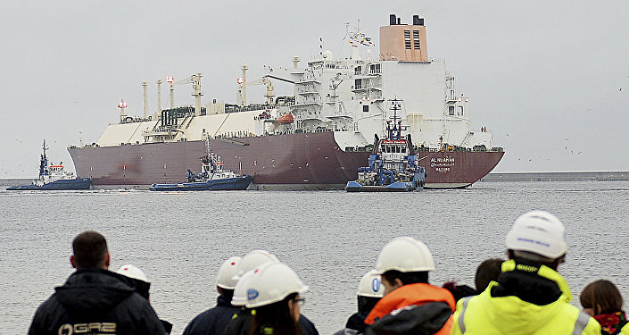 In this file photo taken Dec. 11, 2015 at the Baltic port of Swinoujscie, Poland, the giant liquefied natural gas tanker Al Nuaman, carrying some 200,000 cubic meters of liquefied gas from Qatar, arrives in Swonoujscie, the first delivery to the freshly-built LNG terminal, as Poland seeks to cut its dependence on gas deliveries from Russia
