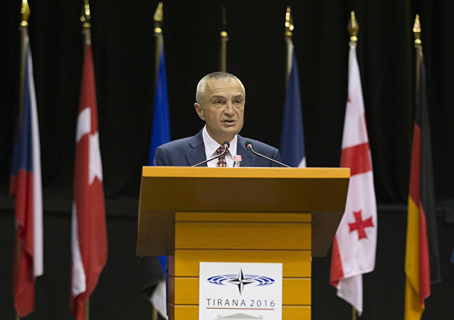 In this Monday, May 30, 2016 file photo, Albania's Parliament Speaker Ilir Meta speaks at the NATO Parliamentary Assembly Spring session in Tirana.