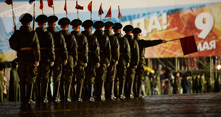 Servicemen at a Victory Day Parade practice on Red Square.