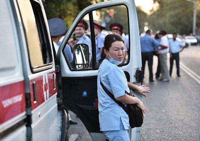 A paramedic in Kyrgyzstan. (File)