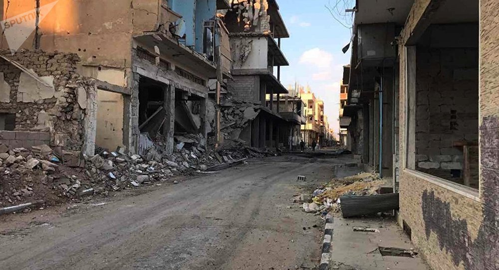 Buildings destroyed during combat activities in the residential part in Homs, Syria. (File)