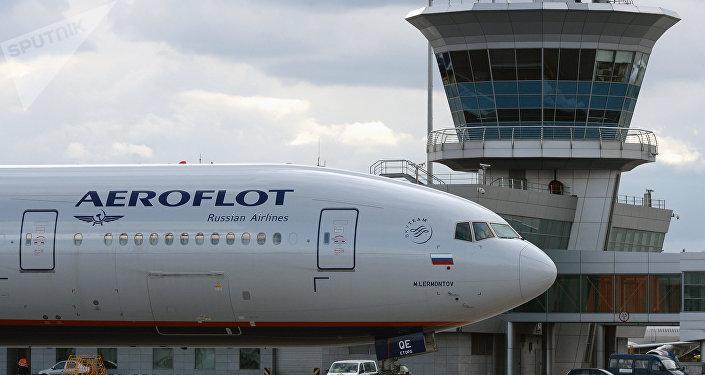 Aeroflot's Boeing 777 at Sheremetyevo international airport.