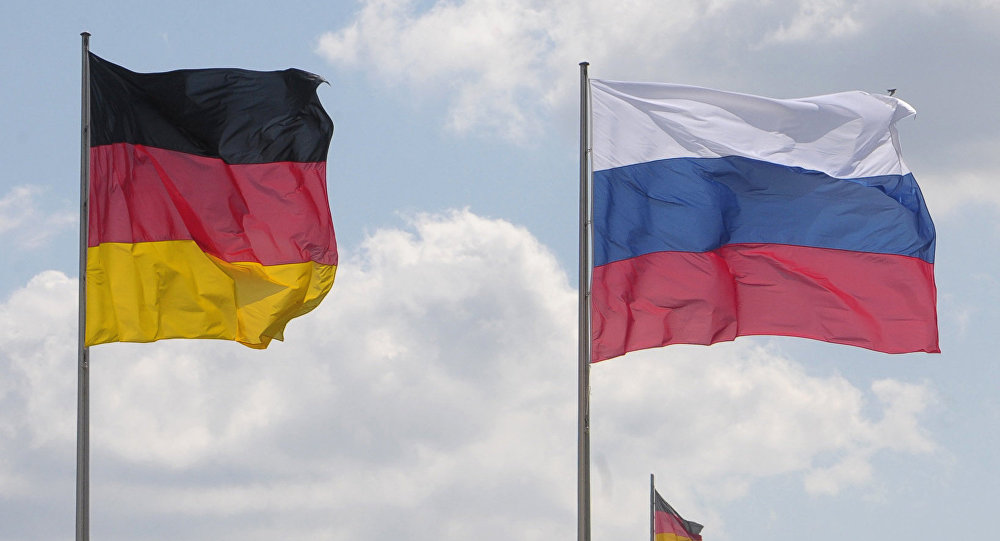 Flags of Germany and Russia. (File)