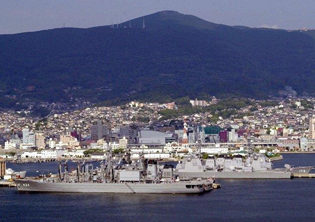 Sasebo naval base view. (File)