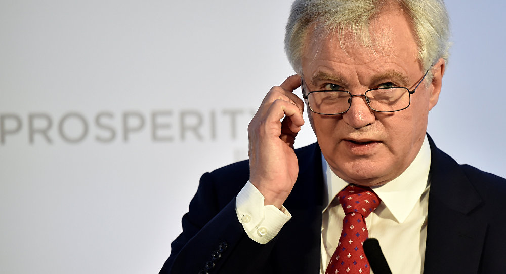 Britain's Secretary of State for leaving the EU David Davis speaks at the Prosperity UK 2017 conference in London, April 26, 2017
