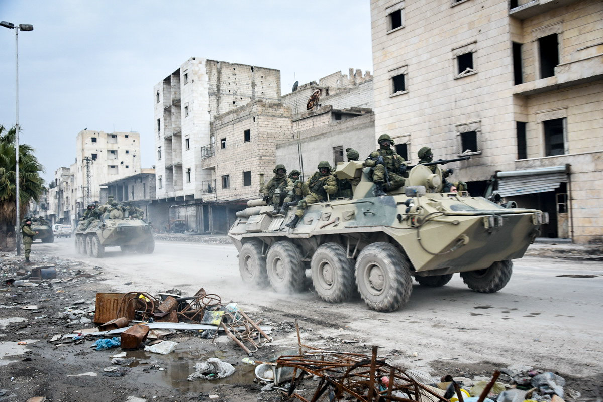 Military engineers of the Russian Army' international counter-mine center continue the demining operation in eastern Aleppo, Syria