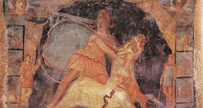 Mithras and the bull, fresco from Temple of Mithras