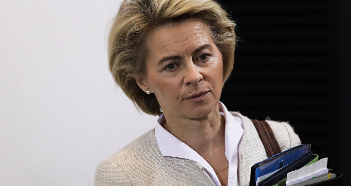 German Defense Minister Ursula von der Leyen arrives for the weekly cabinet meeting of the German government at the chancellery in Berlin, Wednesday, Nov. 30, 2016