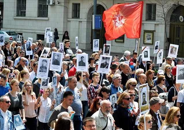 Immortal Regiment march on the 71st anniversary of Victory in Great Patriotic War (1941-1945) in Belgrade