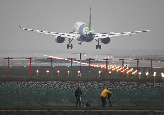 Chinese C919 passenger jet lands on its maiden flight at Pudong International Airport in Shanghai, China May 5, 2017