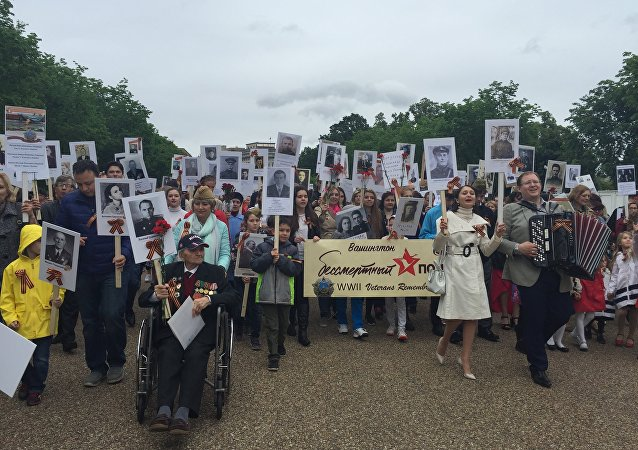 Hundreds of people marched down the central streets of Washington DC as part of the Immortal Regiment march