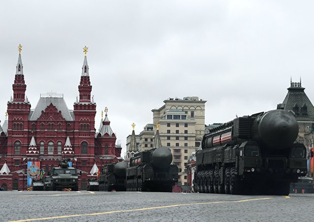 RS-24 Yars mobile ground missile systems with at the military parade in Moscow marking the 72nd anniversary of the victory in the Great Patriotic War of 1941-1945.