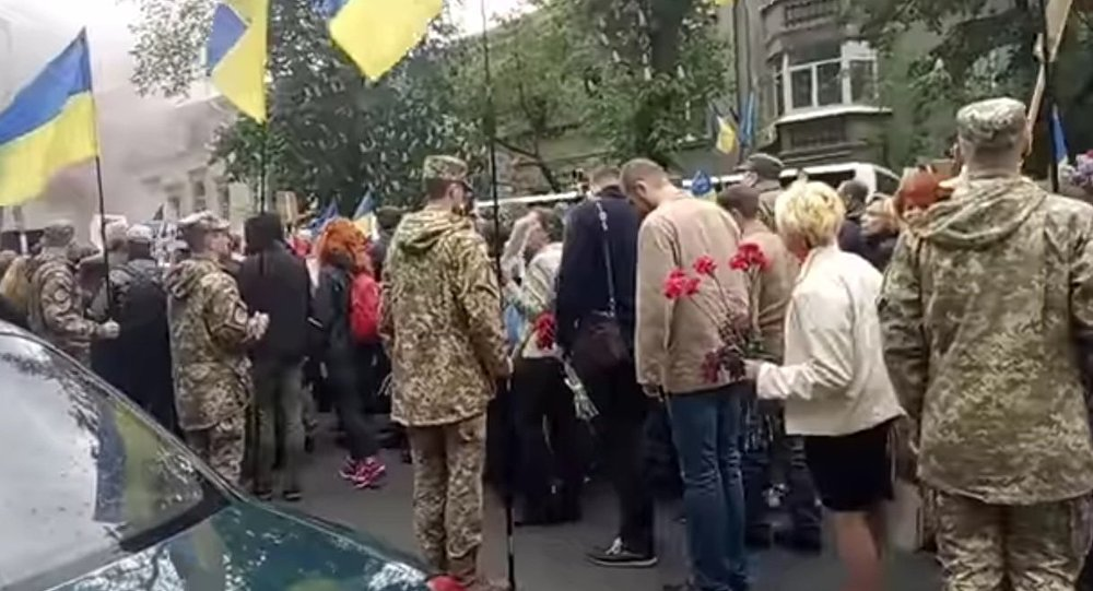 Participants in the Immortal Regiment march in Kiev