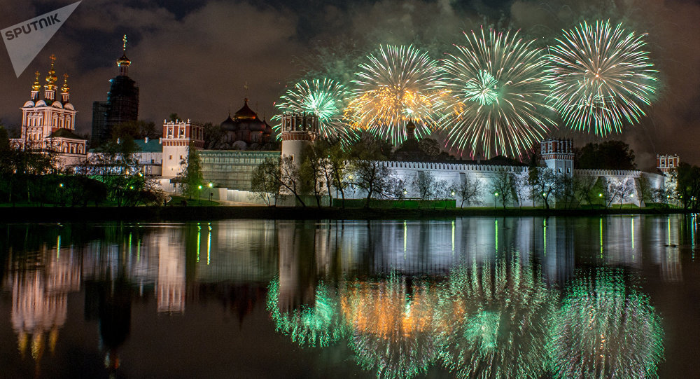 Victory Day fireworks at Novodevichy Convent in Moscow