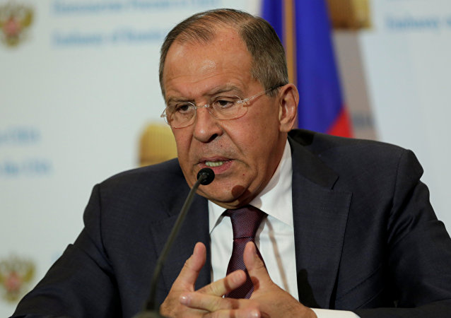 Russian Foreign Minister Sergey Lavrov speaks at his news conference at the Russian Embassy in Washington, U.S