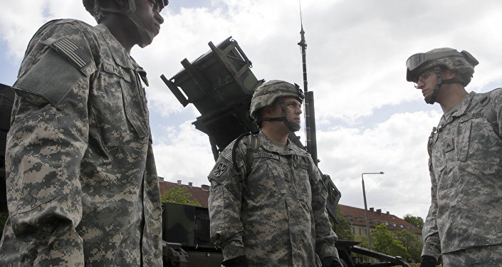 U.S. soldiers stands next to a Patriot surface-to-air missile battery. (File)
