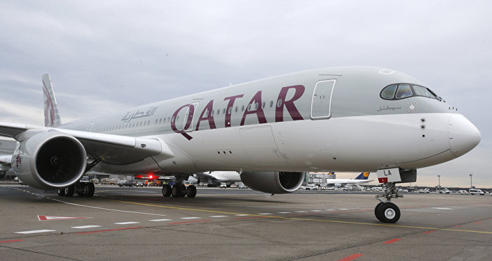Qatar Airways Airbus A350 approaches the gate at the airport in Frankfurt, Germany