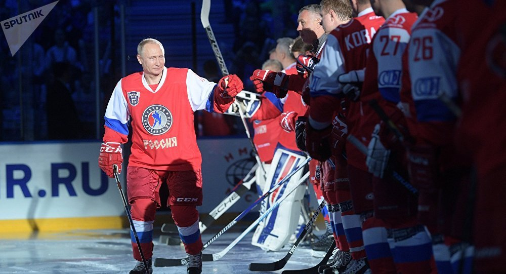 President Vladimir Putin participates in gala match of 6th Night Hockey League Festival