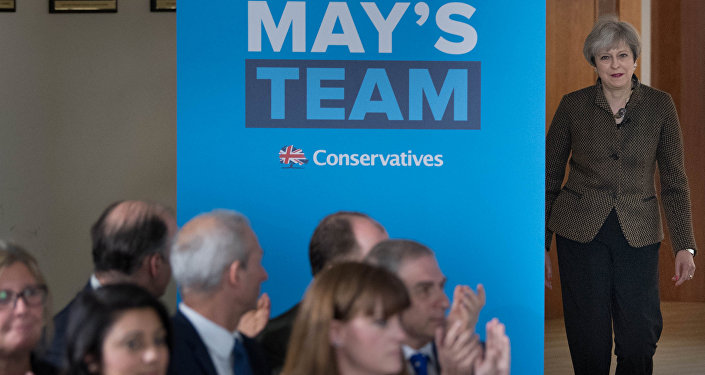 Britain's Prime Minister Theresa May arrives to address Conservative parliamentary candidates for London and the south east at the Dhamecha Lohana Centre in Harrow, north west London, May 8, 2017