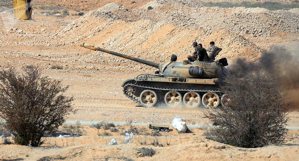 T-72 tank at the front-line of the Syrian Arab Army (SAA) near the Syrian city of Palmyra.