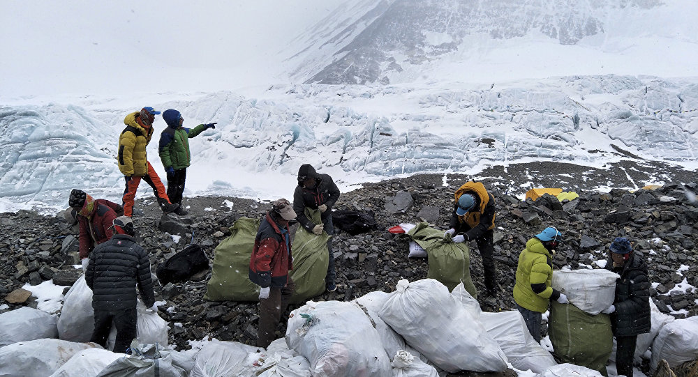 Volunteers help in a massive cleanup campaign on Mount Everest, May 2017