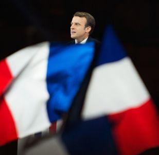 En Mache! leader Emmanuel Macron during a speech outside Louvre after winning French presidential election