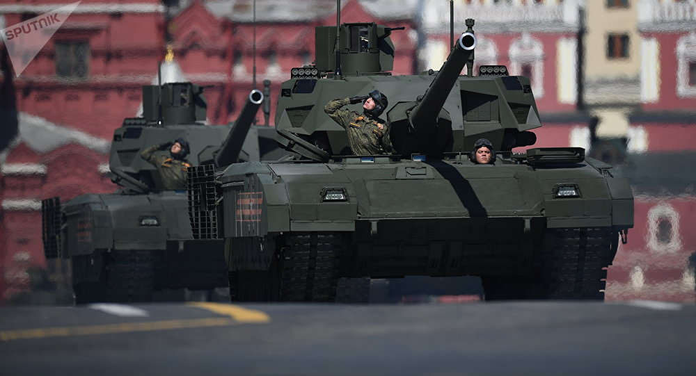 A T-14 Armata tank during the final rehearsal of the military parade in Moscow marking the 72nd anniversary of the victory in the Great Patriotic War of 1941-1945